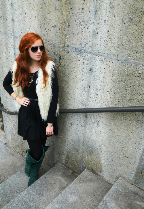 Wore Out, Outfit Posts, Faux Fur Vest, Over the Knee Boots, Emerald Green Suede Boots, Skater Style Dresses, Mermaid Jewelry