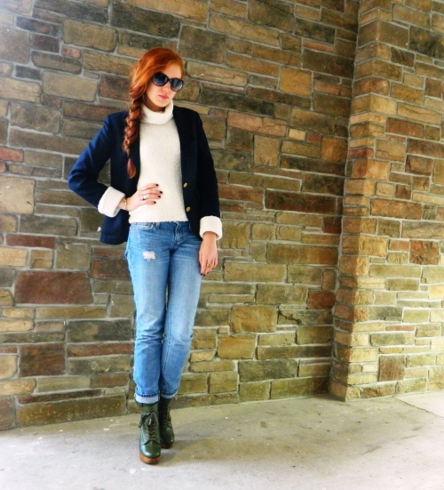 Wore Out, Outfit Post, Casual Winter Looks, Jeffrey Campbell Boot Camp Boot, Jeffrey Campbell Boots, How to wear boyfriend jeans, classic navy blue blazer, layering clothes in winter, how to layer clothes without looking bulky,