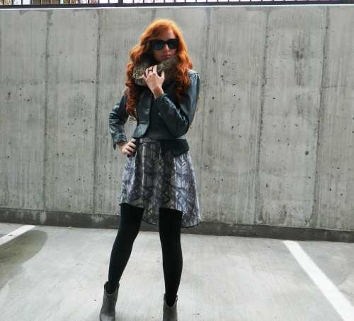 Wore Out, Outfit Posts, Black and Gray outfits, Big Hair, Summer Dresses with Tights, Vintage Jeffrey Allen Leather Jacket, Faux Fur Snood, Silence + Noise Blazer