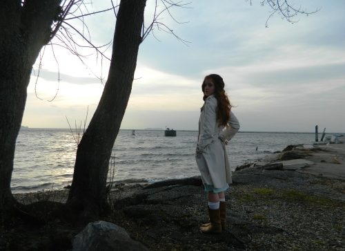 Wore Out, Outfit Posts, Mint Green Sweater Dress, How to wear a sweater dress, layers of knits, classic trench coat, how to dress for wind and rain, Burlington Waterfront, Lake Champlain