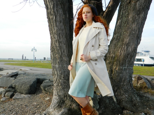 Wore Out, Outfit Posts, Burlington Waterfront, Lake Champlain, Mint Green Sweater Dress, How to wear a sweater dress, layers of knits, classic trench coat, how to dress for wind and rain