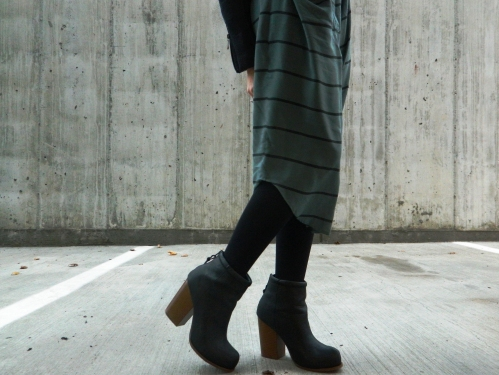 Wore Out, Outfit Posts, How to wear stripes, Silk Shirtdress, Chunky Heel Ankle Boots, Black Moto Jacket, Slouchy Knit Hats, Casual Winter Outfits