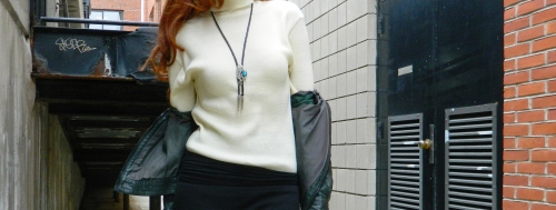 Wore Out, Winter Layering, Black Ankle Boots, Bolero Necklace, Zara Knit  Sweater, How to wear a maxi skirt in the winter, Simple Color Palette, Green Leather Jacket, Battery Street Jeans