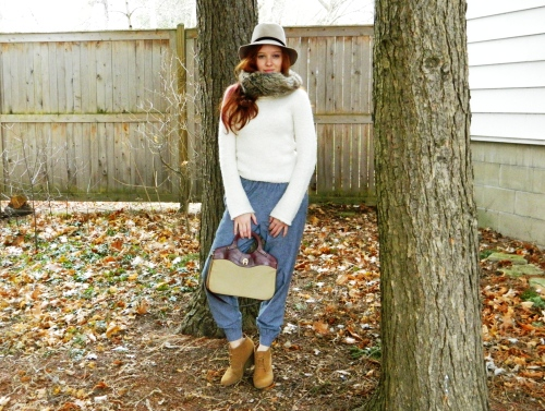 Wore Out, Outfit Posts, Vermont Life and Style Blog,  American Apparel  Pants, Faux Fur Snood, Vintage Accessories, J. Crew Turtleneck, Casual Winter Looks, Oxford Wedges, Simple Color Palettes