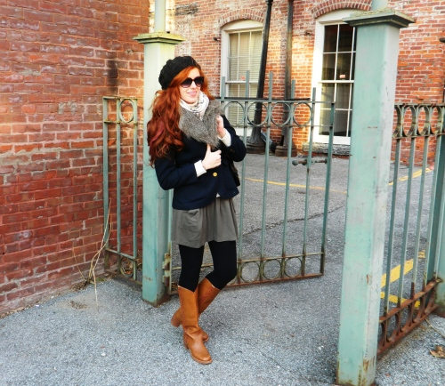 Wore Out, Outfit Post, Frye Boots, How to layer, Classic navy Blue Blazer, Faux Fur Vest,