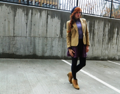 Wore Out, Outfit Posts, J Crew  Cable Knit Sweater, Knit Hats, Camel Blazer, Layering for Winter, Name Necklace, Purple Sweater and Shirtdress