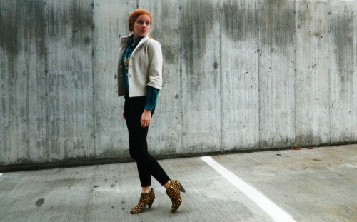 Wore Out, Outfit Posts, Leopard Ankle boots, 6pm, Urban Outfitters, Gap, Stowe Mercantile,Vintage Blouse, Wool Shrug