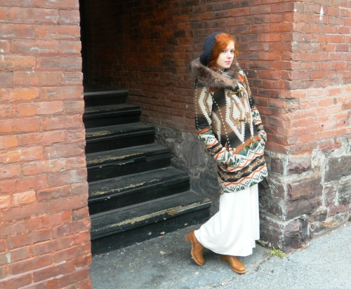 Wore Out, Outfit Posts, How to layer without looking bulky, Winter White, Maxi Dresses in Winter, BB Dakota Coat, Leopard Print Accessories, Vintage Frye Boots, ALDO Bag, Chunky Knit Sweater