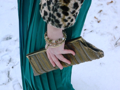 Wore Out, Outfit Posts, Gold Beaded Clutch, Maxi Skirts in Winter, Faux Fur Jacket, Leopard Jacket, Elle Booties, Green and Gold, Pleated Mai Skirt, How to wear a maxi skirt,