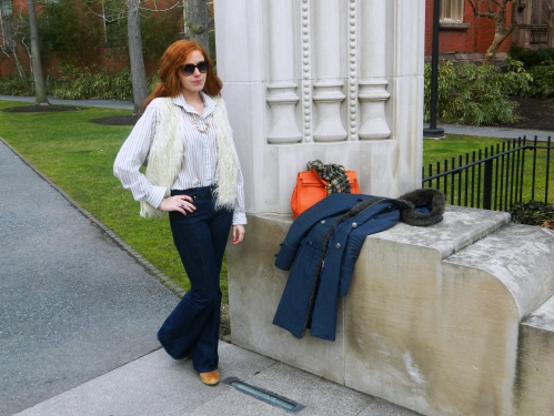 Wore Out, Plaid Scarf, Military Inspired Coats, ALDO Bag, Orange Bags and Accessories, White Faux Fur Vest, Striped Blouse, Peabody Essex Museum, Salem Massachusetts, How to layer clothes without looking bulky