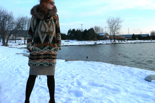 Wore Out, Outfit Posts, Vermont Fashion, BB Dakota Jacket, Southwestern Print, Dollhouse Pumps, Sweater Dress, Simple Winter Outfits, Off the shoulder sweater dress, Orange Accessories,
