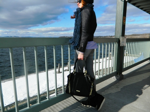 Wore Out, Vermont Fashion, Burlington Boat House, Burlington Waterfront, Steve Madden Wedge Sneakers, Moto Jacket, Steven Madden Tote, Striped Jeans,