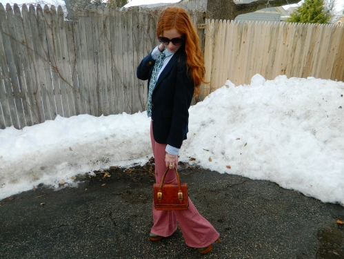 Wore Out, Vermont Fashion, Menswear Inspired Outfit, Women wearing Ties, Jeffrey Campbell Boots, Vintage Leather Handbag, Paisley Print Accessories, High Waisted Jeans, Colored Denim, Womens Suit,
