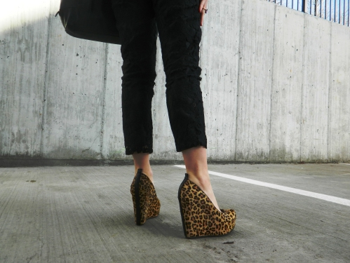 Wore Out, Vermont Fashion, ALDO Leopard Wedges, Steve Madden Tote,  Leopard Wedges, Lace Pants, Denim Button Up, Cropped Wool Coat,