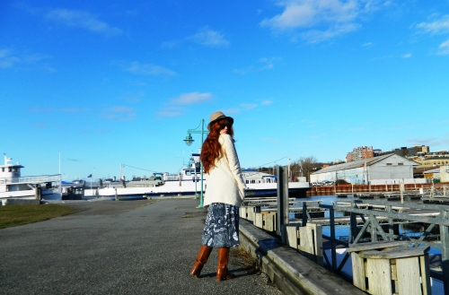 Wore Out, Vermont Fashion, Vintage Frye Boots, Felt Fedora, Cream Knit Cardigan, Lux Military Inspired Jacket, Printed Wrap Skirt, Orvis Wrap Skirt, Burlington Waterfront, Perkins Pier