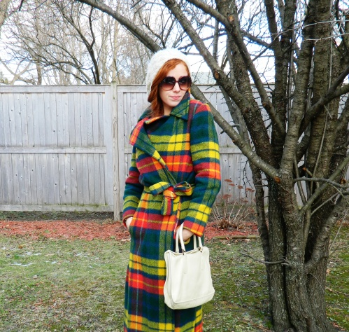 Wore Out, Outfit Posts, Vintage Wool Jacket, Colorful Winter Coats,, Winter White Accessories, 70's inspired style, how to wear bold patterns, long wool coat, vintage winter coats