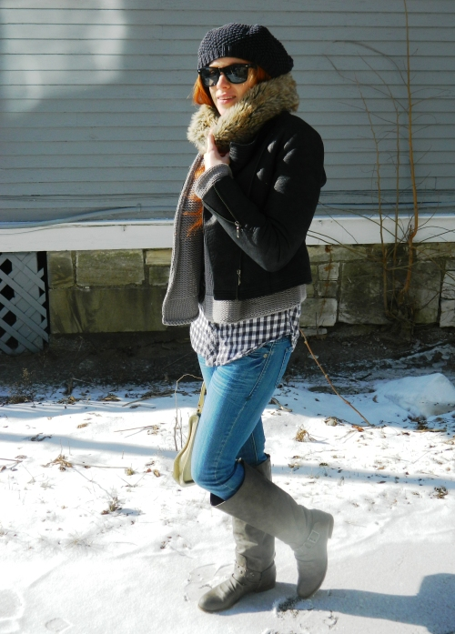 Wore Out, Vermont Fashion, Winter Fashion, How to layer without looking bulky, Forever 21 Moto Jacket, Blowfish Boots, Faux Fur Scarf, Faux Fur Snood