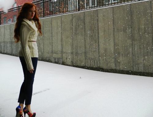 Wore Out, Vermont Fashion, Burton Women's Sweater, Off the shoulder sweater, ALDO Heels,