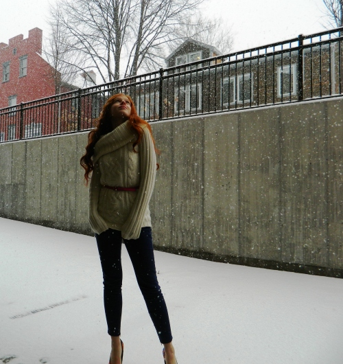 Wore Out, Vermont Fashion, Burton Women's Sweater, Off the shoulder sweater, ALDO Heels,