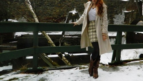 Wore Out, Vermont Fashion, Classic Trench, Steve Madden Cowboy Boots, Colored Tights, Vintage Wool Skirt, How to layer without looking bulky,
