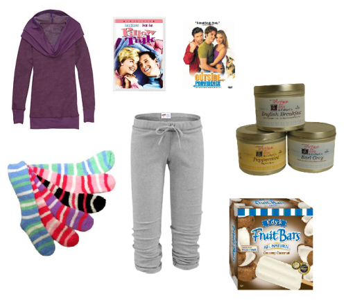 flu essentials, flu season, cozy socks, Vermont Artisan Tea , Cropped Sweatpants, Cowl Neck Sweatshirt, Edy's Fruit Bars, Outside Providence, Pillow Talk