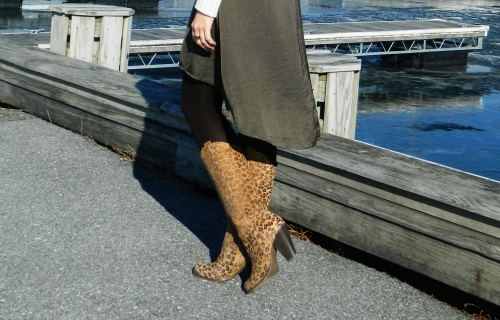 Wore Out, Vermont Fashion, Zara Sweater, Elbow Patches, MIA Boots, Leopard Print Boots, Old Navy Silk Dress