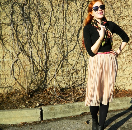 Wore Out, Vermont Fashion, Vermont Fashion Blogger,  Carol Maguire, Peony Print, Pink Pleated Skirt, ELLE Booties, Pink and Black