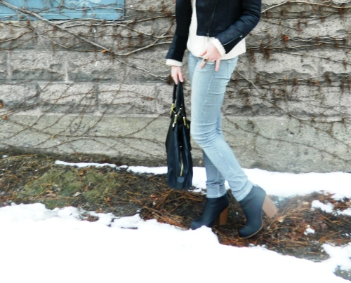 Wore Out, Outfit Posts, Striped Denim, ELLE Ankle Booties, Steve Madden Bag, Black Moto Jacket, Simple Winter Outfits, Charlotte Russe Scarf, Southwestern Print Scarf, Black and White Outfit Ideas, Wardrobe Staples, Simple Outfit Ideas for Cold Weather