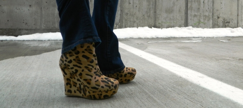 Wore Out, Vermont Fashion, New England Fashion. Casual Denim Looks, Denim on Denim, How to mix denim, Bamboo Wedge Booties, Leopard Booties