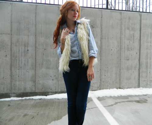 Wore Out, Vermont Fashion, New England Fashion. Casual Denim Looks, Denim on Denim, How to mix denim, Bamboo Wedge Booties, Leopard Print Booties, MAC Party Parrot , Iris Apfel for MAC, White Shaggy Vest
