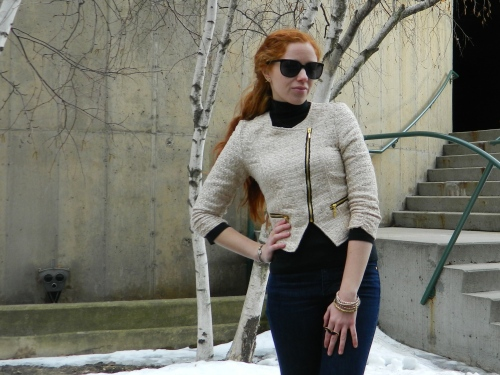 Wore Out, Outfit Post, Vermont Fashion, Spring Jackets, Mock Neck Top, Charlotte Russe Jacket, Mustache Ring, Spring Outfit Ideas, Easy Spring Outfits, non leather moto jacket