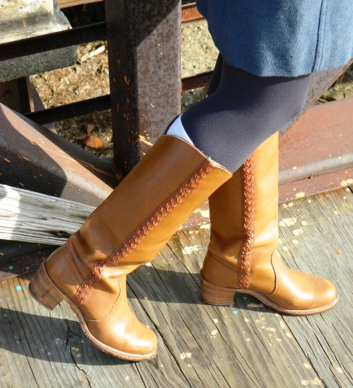 Wore Out, Outfit Posts, Vermont Fashion, Winter Outfit Ideas, Military Inspired Coats, Lux Coat, Floppy Felt Hat, Vintage Brooches,  Vintage Frye Boots, Colored Tights, layering spring dresses, Fishtail braids, how to layer without looking bulky