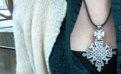 Wore Out, Vermont Fashion, Winter Outfit Ideas, How to layer clothes without looking bulky, Vintage Knit Cardigan, Mixing Knits, Layering Knit Pieces, Ankle Boots, Levi's Boyfriend Jeans, Black and White Outfits, Vintage Pendents, Edwardian Cross Pendent