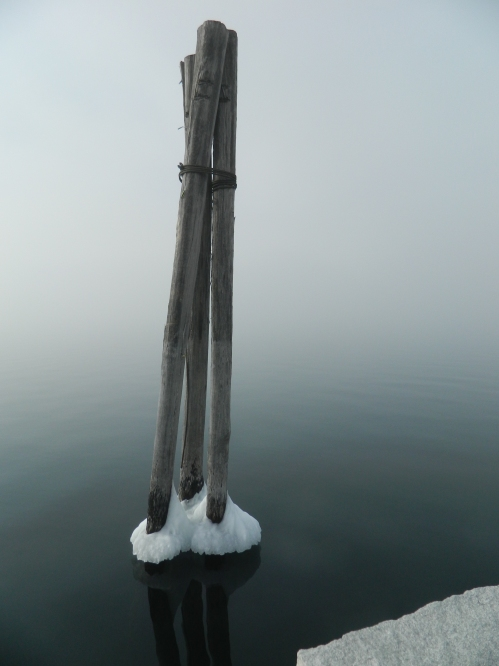 Wore Out, Vermont Photography, Lake Champlain in Winter, Perkins Pier in Burlington, Lake Champlain Waterfront, Winter in Vermont, Fog over Lake Champlain, Frosted Pilings