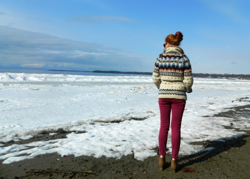 Wore Out, Vermont Fashion, Winter to spring transition, Burlington Waterfront, Lake Champlain, Colored Denim, Vintage Knits, Casual Friday, Oxford Wedges
